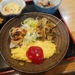 酒房 三日月食堂 - 日替定食(オムレツ、イカの唐揚、野菜のかき揚げ、サラダ)