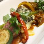 真鯛のポワレ タプナードとトマトのソース