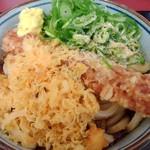 四代目横井製麺所 - コロぶっかけ特盛490円。ちくわ天110円。