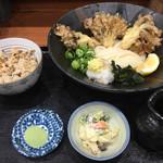 千舟屋 - 料理写真:舞茸天ぷらぶっかけ冷うどんランチ(¥950)