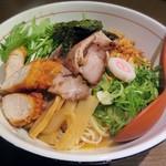 ひのき屋 - 料理写真:【(限定) 特製!煮干し混ぜそば 鶏ささ身竜田揚げをtoppingで】¥850