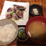 田町 炭火串焼 正直や - 藁焼きカツオたたき定食(日替りランチ)