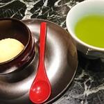 魚貝三昧 げん屋 - 甘夏のシャーベットとお茶