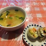 西新宿 タイ国屋台食堂 ソイナナ - スープとサラダ(生春巻)