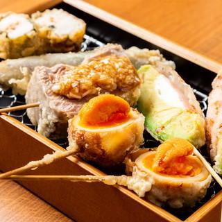 【名物◎サクサク♪】種類豊富に!!揚げたて天ぷら串