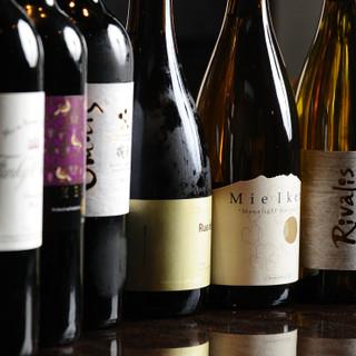 全国各地から厳選した日本ワイン。選りすぐりの銘柄をご提供