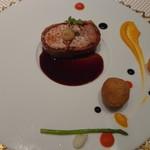 ル レストラン マロニエ - スモーキーな野菜の香りのもち豚ロース肉のロッティ ブーダンノワール風 パテのクロケット添え