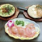 お好み焼のうえる花夢 - 生ハム・豆腐ステーキ・スジ肉と、卵のオムレツ