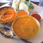 1064772 - アジアンランチセット「野菜とチキン2種のカレー&生春巻き」