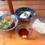 Toufudiyasagadoufusanchuu - 嵯峨豆腐・三忠(料理) 湯豆腐・ごま豆腐・生湯葉の刺身