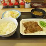 松屋 - 豚肩ロースの焼肉定食(ライスミニ、480円)