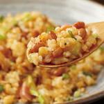 しょぼろ納豆とベーコンの塩焼き飯