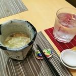 Chuugokusaishinka - 干し海老の香ばしい香りがブワーッ!干し海老と野菜、卵白のスープ、毎回変わる箸置きも楽しみ