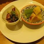 居酒屋 ちゅーりっぷと鯱 - ホタルイカのかんずり和え 筍と蕗