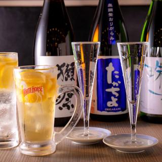 なみなみ地酒1杯500円とレモン系サワー・ハイボール