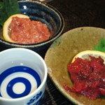 Ohatsutenjinhonjin - 鰹の酒盗と最近はまっている梅クラゲ