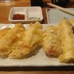 野菜酒場 天ぷら白金 - シャキシャキレンコン 豚生姜巻き 鳴門金時