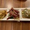 九龍飲茶酒楼 - 料理写真:「本日のあて三種盛り」(ザーサイのラー油和え・ナスの冷製ゴマソース・叉焼と白葱の和え物)