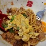 福島壱麺 - 牛タンハンバーグ混ぜそば 焦がしポルチーニオイル-鯖オムレツ味変