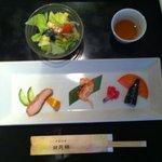 日月楼 - 前菜三種盛りとサラダ(日月楼ランチ)