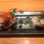 106583037 - 前菜はローストビーフのとびっこ和え、やまいもがけ牛タン