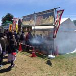 五浦ハム - 「五浦ハム」仮設販売テント。この芳ばしい香りに惹かれて並んでしまいます。