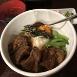 wagyuuyakinikubarukuramoto - H31.4 温玉のっけ牛角煮丼