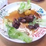 七輪焼き うまいもん処 信濃坂 - 鳥もつ煮(食べかけです)