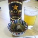北の味心竹ちゃん - 中瓶ビール 650円とお通し 400円