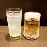 無国籍酒肴 Himeji - 生レモンソーダ割(500円)/ 生ビール(500円)