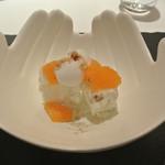 リストランテ カノフィーロ - ゴルゴンゾーラとくるみのセミフレッド デコポンと蜂蜜