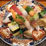 玄海鮨 - 梅にぎり+アナゴ+カイワレ