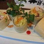 櫻壽 - サラダのかわりに、湯葉巻き。見た目どおり。けっこうボリュームあります。直径6センチ・・・くらい。