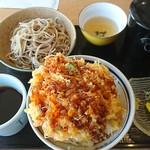北海道そば 幻庵 - 料理写真:海鮮かき揚げ丼セット(もり) 980円(税込)