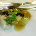 10665822 - 小前菜 里芋、オマール海老、帆立のゆず風味のコンソメジュレ、キャビア添え