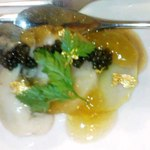 10665823 - 小前菜 里芋、オマール海老、帆立のゆず風味のコンソメジュレ、キャビア添え