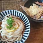 カマ喜ri - 料理写真:ぶっかけ(冷たい小)げそ天・かしわ天