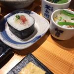 北野坂栄ゐ田 - 鮪の巻き寿司、おひたし、出汁巻き、、