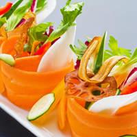 九頭龍蕎麦 - 雲丹ひしおで召し上がる 薄切り野菜のおつまみサラダ