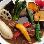 ペレニアルロックガーデン春子谷地 cafe ミルクの里 - カレーのアップ。野菜が美味しい!