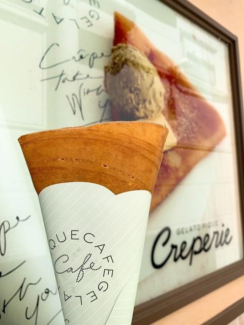 ジェラート ピケ カフェ クレープリー 御殿場アウトレット - エシレ産バターとお砂糖のクレープクリーミーカスタードトッピング(アーモンド入り)