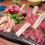 106761330 - 焼肉5種盛合せ(熟成牛タン/山形牛カルビ/山形牛ももロース/豚カルビ/ハラミ)