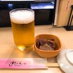 すしざんまい - 生ビール小 350円とお通し 220円
