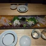 穴子家 NORESORE - 穴子お造り盛合わせ(刺身、炙り、湯引きの3種盛)