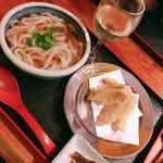 麺豪 のざき - 料理写真:かけうどんとゴボウ天