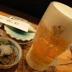 新日本料理 旬味 すずの木 - 生ビールとお通し