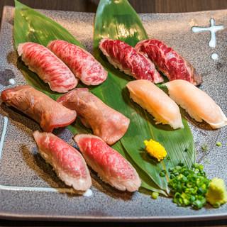 A5ランクの肉寿司や国産和牛の肉寿司は全部で12種類!