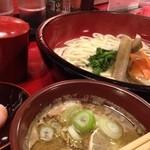鴨錦 - つけ鴨うどん(温)+温玉+野菜増し
