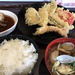 106854107 - 天ぷらいろいろとごはんにあさりの味噌汁