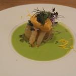 レ・カネキヨ - Poisson ~魚料理~ 「金目鯛」のポアレ スープ・ド・ポアソン仕立て しじみ醤油のエミュルシオンと青野菜添え